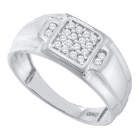 Diamond Fashion Mens Ring in 10k White Gold 0.25 ctw