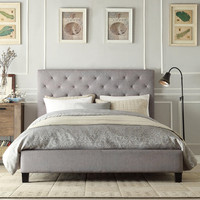Queen size Button Tufted Grey Upholstered Platform Bed