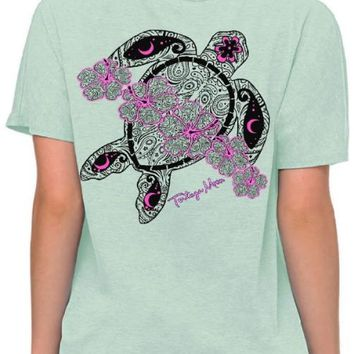 Southern Attitude Preppy Tortuga Moon Flower Turtle Soft Canvas T-Shirt