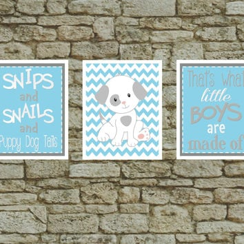 Set of 3 Baby Nursery Prints What Little Boys are Made of - Boys Room Wall Art Blue / Gray Puppy Dog Art Print - Nursery wall decor