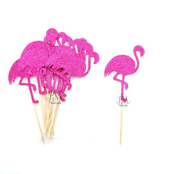 12 Fuchsia Glitter Flamingo Cupcake Toppers - Summer Cupcake Toppers, Summer Birthday, Tropical Party, Flamingo Party Decor