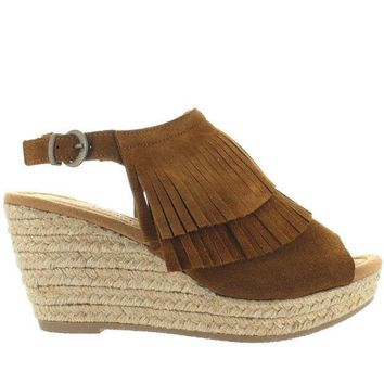 Minnetonka Ashley   Dusty Brown Suede Double Front Fringe Espadrille Platform/wedge Sandal