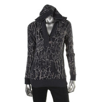 Style & Co. Womens Printed Long Sleeves Cardigan Sweater
