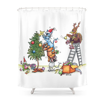 Society6 Christmas Decorating Shower Curtain