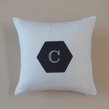 Personalized Initial Pillows Embroidered Monogrammed Letter of Your Choice Modern Home Decor Gift Ideas (Custom Colors Available)