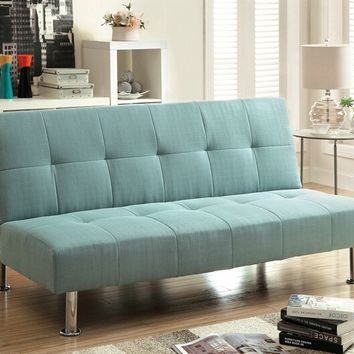Furniture of america CM2679BL Dewey blue fabric tufted futon sofa bed