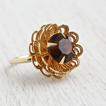 Vintage Brown Stone Flower Ring - Retro Signed Sarah Coventry 1970s Amber Rhinestone Gold Tone Adjustable Costume Jewelry / Marigold