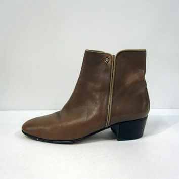 Italian Seventies Brown Leather Ankle Boots Women's Size 8.5