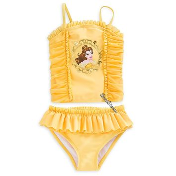Licensed cool Beauty & the Beast Belle Ruffle SWIMSUIT GIRLS 2PC DISNEY STORE Size 4 & 5/6 NEW