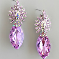 Lavender Crystal Statement Earrings