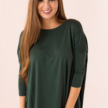 Piko Top: 3/4 Sleeve Round Neck in Hunter Green