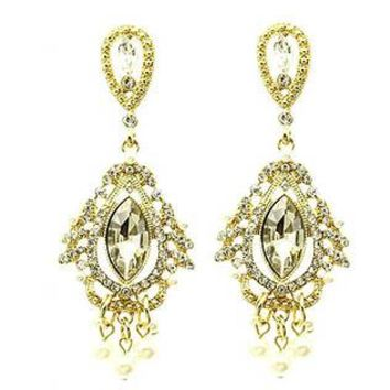 Pave Crystal Stone Chandelier Pearl Earrings
