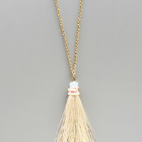 Elegant Cream Tassel Necklace