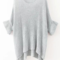 Grey Half Sleeve Slit Knit Sweater