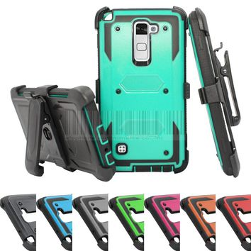 Rugged Impact Heavy Duty Anti-Shock Future Armor Protective Case Cover+Holster With Belt Clip For LG Stylo/Stylus 2 LS775