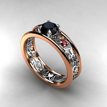 Black Diamond engagement ring, Red sapphire ring, filigree engagement ring, rose gold ring, white gold, red gemstone ring, gothic engagement