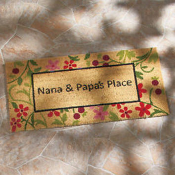 "36"" Grandparents Doormat Nana & Papa Colorful Entry Rug Keeps Dirt Out"