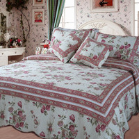 DaDa Bedding French Country Cotton Quilt Set Queen Floral 5 Pieces