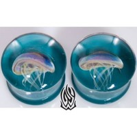 Pair of Glass Double Flared Amber Purple Jellyfish Plugs: 0g Dark Aqua