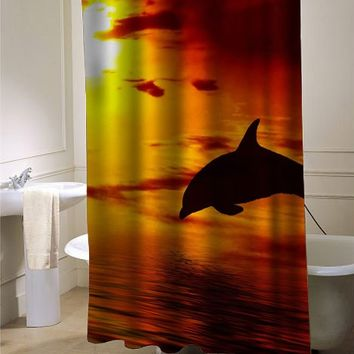 Dolphins sunset1 shower curtain