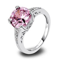 Psiroy 925 Sterling Silver Stunning Created Gorgeous Women's 10mm*10mm Round Cut Pink topaz Charms Filled Ring
