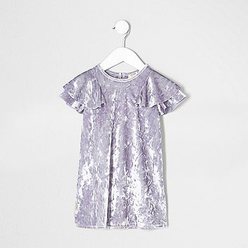 Mini girls purple velour frill shift dress