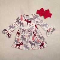 baby girls boutique Christmas dress girls cotton moose reindeer dress ruffle children Fall moose cotton dress with headband