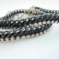 Nickel and black chains wrap bracelet