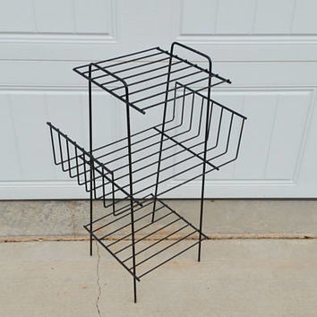 Vintage Black Wire Mid Century Record Table Plant Stand Shelf