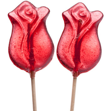 Red Rose Hard Candy Lollipops: 12-Piece Bag