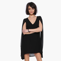 Cape Spring and Summer New European Slim Blouses_Black