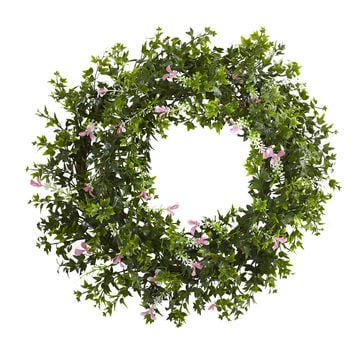18in Mini Ivy & Floral Double Ring Wreath w/Twig Base