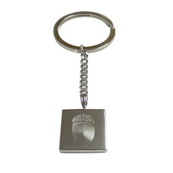 Silver Toned Etched Square Acorn Pendant Keychain