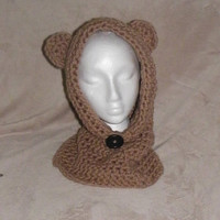 Hooded Bear Cowl, Crochet Softee Chunky Bernat yarn Super Soft and Cute Cowl, Crochet Hooded Bear Cowl, Knit Hooded Bear Cowl, Bear Cowl