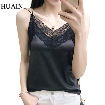 Lace Satin Tank Tops Women Fitness V-Neck Sleeveless Shirt Camisole 2018 Female Camis Black White Casual Ladies Summer Tops