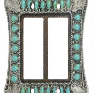 Cowgirl Kim Turquoise and Silver Double Rocker Switch Plate
