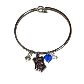 Silver Police Charm Bangle, Womens Police Gift, Police Wife Bangle Bracelet