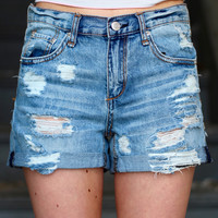 Destroyed Boyfriend Denim Shorts