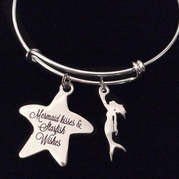 Mermaid Kisses Starfish Wishes Silver Expandable Charm Bracelet Adjustable Bangle Nautical Trendy Meaningful Inspirational
