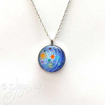 Wearable Art, Solar System Pendant with necklace, original acrylic painting under glass, mini art, NOT A PRINT