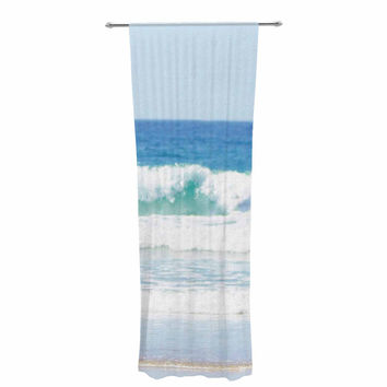 "Sylvia Coomes ""Life Is Better At The Beach"" Tan Blue Decorative Sheer Curtain"