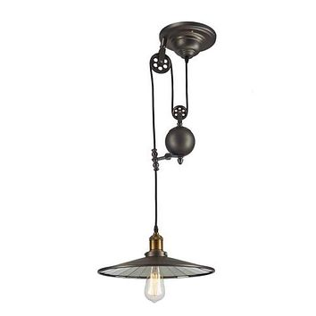 Vintage Barn Pendant Light Fixture - Bulb Included, Metallic Grey/Antique Brass