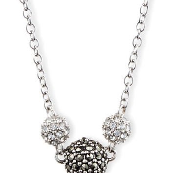 Judith Jack Sterling Silver and Crystallized Ball Frontal Necklace