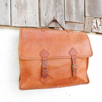 Vintage Distressed Tan Leather Briefcase , Hand Bag , 11-inches Laptop Bag // Medium