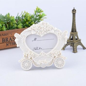 50pcs Wedding Party Favors Creative Gifts Resin White Pumpkin Carriage Heart Photo Frame Place Card Holder+DHL Free Shipping