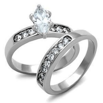The Marchesa - White Marquise Cut Solitaire with Cubic Zirconia Studded Band Wedding Ring Set in Stainless Steel