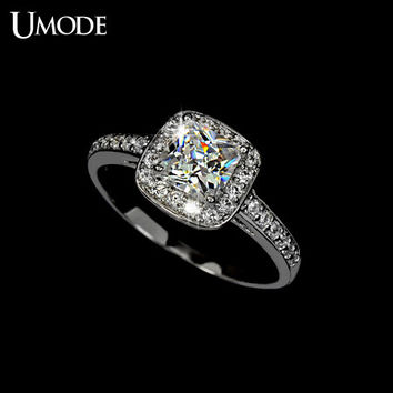 umode white gold plated 125ct princess cut cubic zirconia anelli donna bijoux wedding rings for - White Gold Cubic Zirconia Wedding Rings