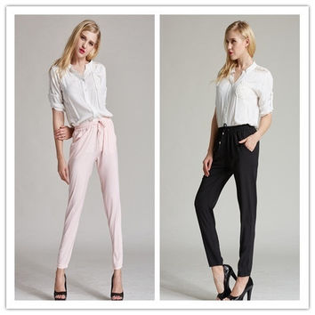 Casual Women Pants Solid Color Drawstring Elastic Waist Comfy Full Length Chiffon Harem Pants = 1705896388