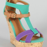 Qupid Finder-146 Tri-Tone Cork Platform Wedge