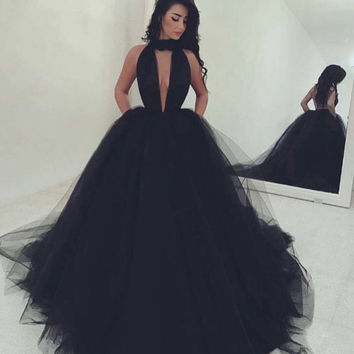 Halt Prom dresses, Long Black Prom Dresses, Formal Dresses for Prom